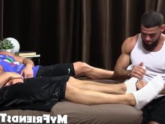 Hunky guys vidz masturbating while  super they get their toes sucked
