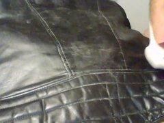 cum on vidz vintage leather  super biker jacket