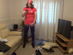 Red PVC vidz Nurse Outfit  super and Shiny Black Crotch Boots