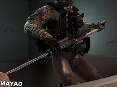 3D cartoon vidz soldier gets  super fucked in the ass by an ebony hunk
