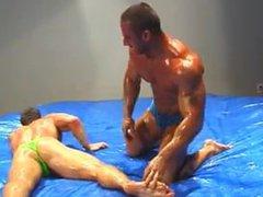 Bodybuilders oil vidz wrestling then  super jerk off