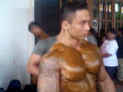 Indonesian Bodybuilder vidz Being Oiled  super Backstage