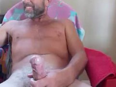 Old man vidz with beard  super shoots huge load on his chest