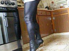 Walking with vidz shiny leggings  super and heels.