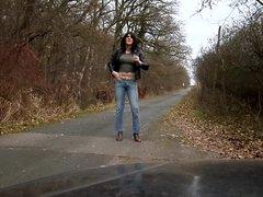 sandralein33 walking vidz on Street  super in Blue Jeans