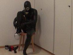 Black latex vidz catsuit play