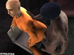 3D cartoon vidz prisoner gets  super fucked anally by a fat black cop