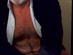 Hairy grandpa vidz unloads his  super hairy uncut cock