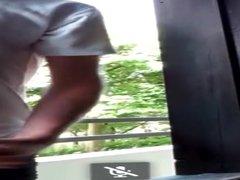 Big dick vidz student jerks  super off in the balcony