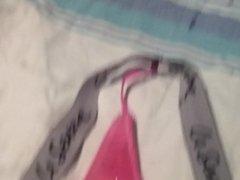 cumming on vidz a pink  super thong