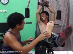 Asian Boy vidz Argie Tickled  super On The Gym