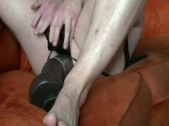 Fucking a vidz huge brown  super dildo on the couch