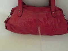 Pee on vidz red handbag