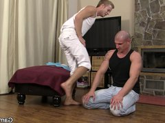 He pleases vidz bald hunk  super with gay blowjob and banging