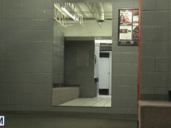 Three dudes vidz go at  super it in the locker room feeding their cocks
