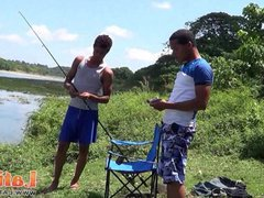 Fishing turns vidz into oral  super fun for two Latino twinks