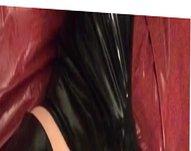 Latex gloves, vidz pants and  super pvc top