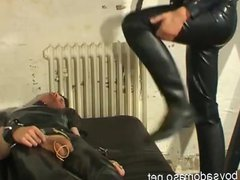 Leather Slave vidz gets whipping  super and Domination