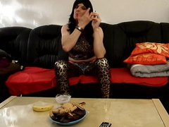 sandralein33 smoking vidz and making  super Dirty talk in leopard outfit