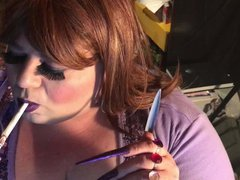 BBW Sissy vidz - Smoking  super with long nails