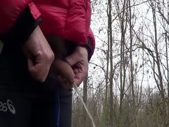Small cock vidz needs a  super pee on a cold winters day!