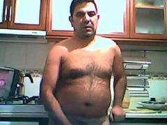 Turkish daddy vidz wanking in  super the kitchen