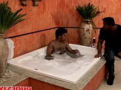 Horny gay vidz hunks in  super the tub start making out and fuck