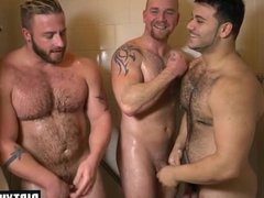 Muscle gays vidz threesome and  super cumshot