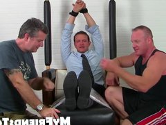 Business man vidz Gordon tied  super up and tickles hard by friends