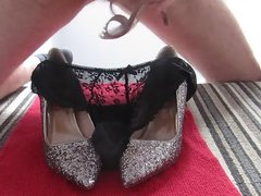 Jerking with vidz wife's shoes  super and soaking her panties in cum
