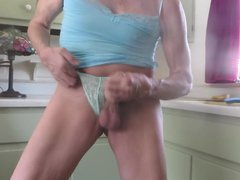 Panty sissy vidz pulls down  super his panties, masturbates, squirts.