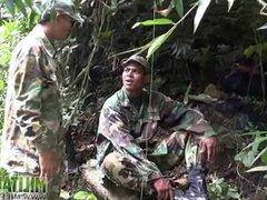 Soldier wades vidz a river  super for a blowjob