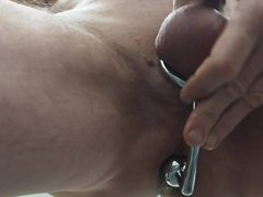 Wanking with vidz anal-plug cock-ring  super combination Huge Load