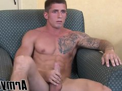 Tattooed soldier vidz hunk Kevin  super Daniels enjoys his wanking off