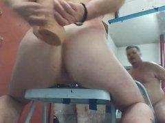 Joey D vidz Quick anal  super hopping on a huge dildo cute butt