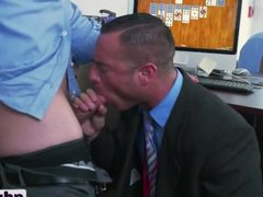 Office stud vidz blows and  super gets ass filled
