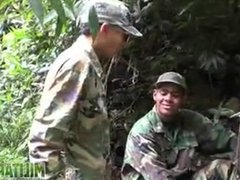 Soldier wades vidz a river  super for a blowjob