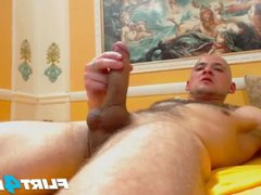 Bald Guy vidz With Big  super Cock Blows a Banana Then His Big Load