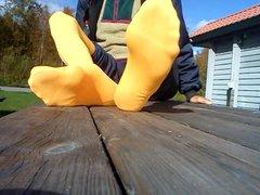 My yellow vidz pantyhose foot  super soles