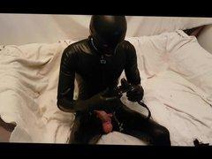 Latex gimp, vidz self bondage  super and orgasm