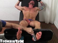 Tattooed and vidz naked Hugh  super Hunter gets the tickle treatment