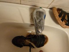 Piss in vidz wifes black  super patent leather & cork sandal