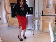Red satin vidz skirt with  super slit