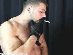 Smoking and vidz wanking with  super his sexy leather gloves