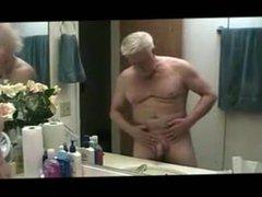 Mature old vidz grandpa masturbating  super in the bathroom