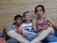 Horny Daddy vidz in threesome  super with young assian horny studs