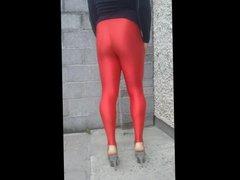 shiny red vidz stirrup leggings