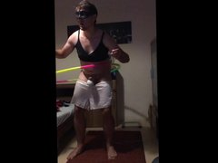 Sissy orgasm vidz with vibrator  super while doing Hula Hoop