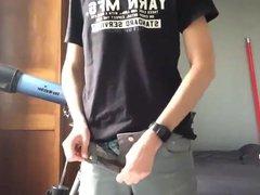 Slim Boy vidz Wank his  super Curved Dick