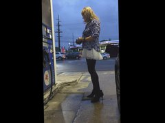 Gassing up vidz in a  super white skirt